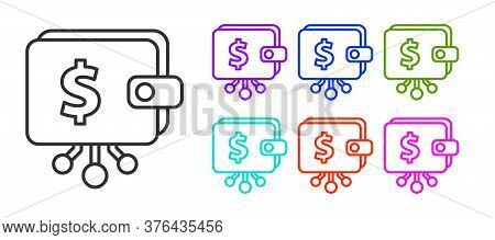 Black Line Cryptocurrency Wallet Icon Isolated On White Background. Wallet And Bitcoin Sign. Mining