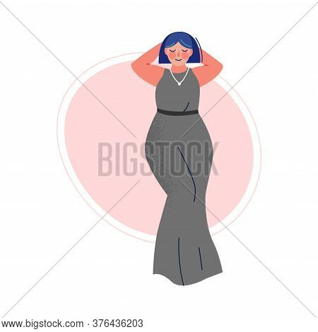 Attractive Plus Size Woman, Beautiful Curvy, Overweight Girl In Long Dress, Body Positive Concept Ve