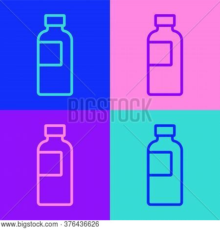 Pop Art Line Fitness Shaker Icon Isolated On Color Background. Sports Shaker Bottle With Lid For Wat