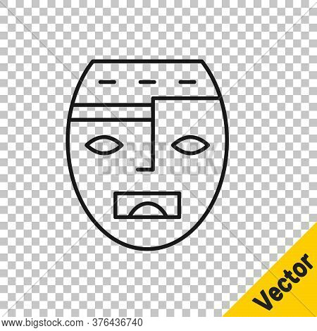 Black Line Mexican Mayan Or Aztec Mask Icon Isolated On Transparent Background. Vector