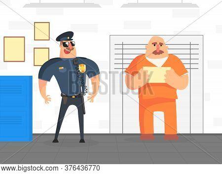 Prisoner Posing For Police Mugshot In Orange Uniform, Police Department Interior Vector Illustration