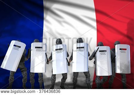 France Protest Stopping Concept, Police Squad Protecting State Against Revolt - Military 3d Illustra