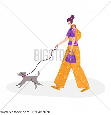 Motherhood Concept - Beautiful Young Woman Walking With Little Baby In Sling. Happy Mom And Her Chil