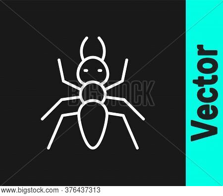White Line Ant Icon Isolated On Black Background. Vector