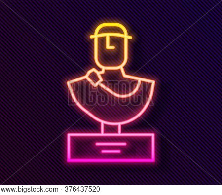Glowing Neon Line Ancient Bust Sculpture Icon Isolated On Black Background. Vector