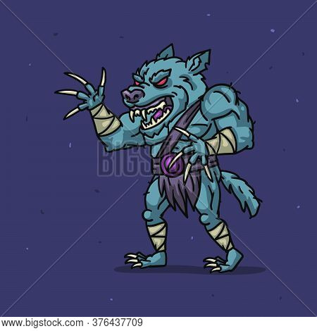 Werewolf Character Angry Attacks. Character Is Divided Into Layers For Animation. Vector Illustratio