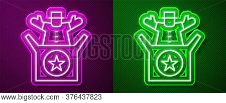 Glowing Neon Line Jack In The Box Toy Icon Isolated On Purple And Green Background. Jester Out Of Th