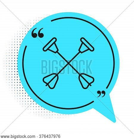 Black Line Arrow With Sucker Tip Icon Isolated On White Background. Blue Speech Bubble Symbol. Vecto