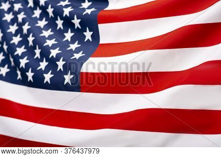 Waving Flag Of America, Usa, Background, Texture, America Independence, July 4