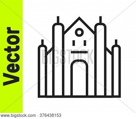 Black Line Milan Cathedral Or Duomo Di Milano Icon Isolated On White Background. Famous Landmark Of
