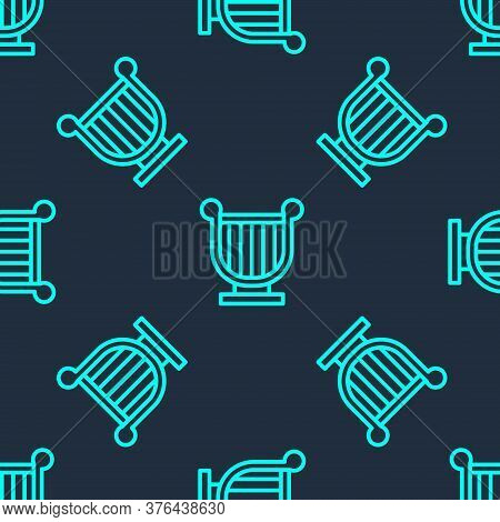 Green Line Ancient Greek Lyre Icon Isolated Seamless Pattern On Blue Background. Classical Music Ins