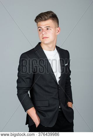Fashion Model Teen. Teen Boy Wear Black Formal Jacket. Young Businessman. Handsome Teen Male. Male B