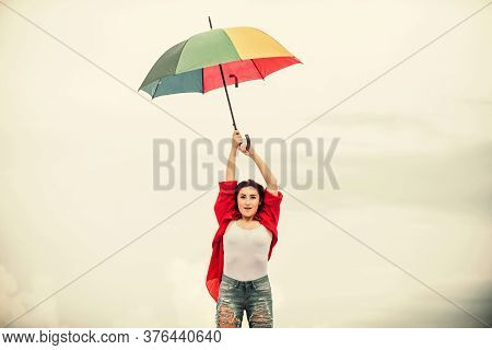 Feeling Comfortable. Autumn Weather Forecast. Pretty Woman With Colorful Umbrella. Rainy Weather. Fa