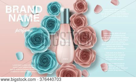Cosmetics Product Perfume Advertising For Your Design. Branding Package Template For Catalog, Poster