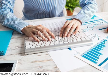 Manager Typing On Computer Keyboard. Close Up Woman Hand With Pen. Strategy Planning And Banking. Co