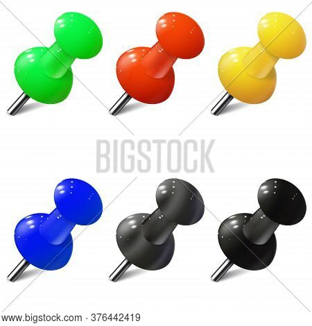 Set Of Realistic Push Pins In Different Colors. Thumbtacks