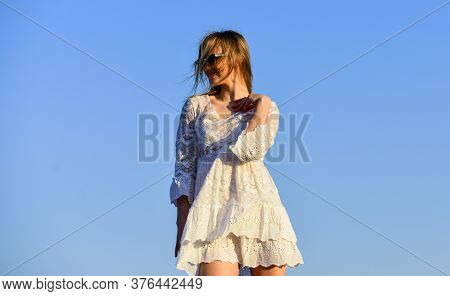 Naturalness Concept. Dancing Woman. Mental Health. Girl Blue Sky Background. Emotional Girl. Happy G