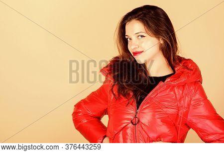 Autumn Style. Girl In Puffed Coat. Faux Fur Fashion. Flu And Cold. Seasonal Fashion. Beauty In Winte