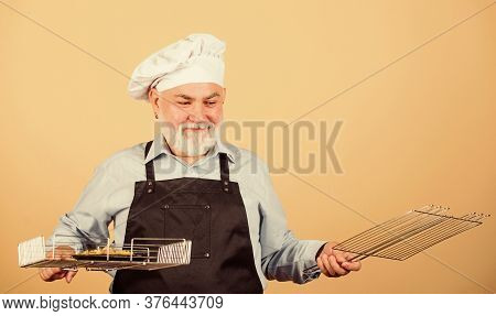 Need Some Help. Kitchen Rules. Prepare Dinner For Family. Family Weekend. Senior Man In Chef Hat. Co