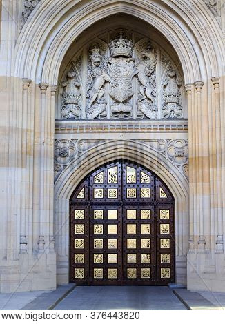 Sovereign's Entrance, Westminster Palace, London, 2020.  This Entrance Is Used By Royalty Gaining En
