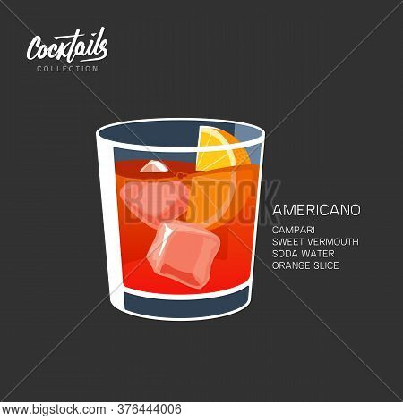 Americano Negroni Cocktail Vector Illustration Ice Orange Slice