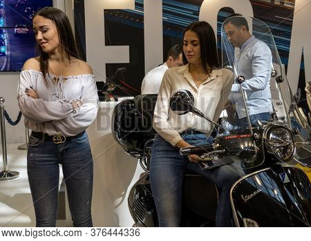 Belgrade / Serbia - March 23, 2019: Beautiful Hostess Girls At The Belgrade Car And Motor Show In Be