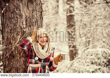 Outdoors On Frosty Day. Travel And Hiking. Girl Hiker Drink Cup Of Hot Tea. Warm Yourself Up. Woman