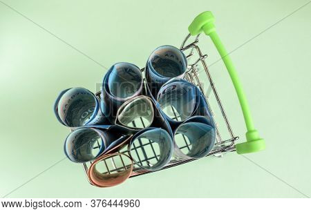 Russian Rubles In A Trolley On A Light  Background. Grocery Basket And Russian Rubles. Russian Curre