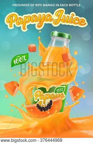 Vertical Banner With 3d Realistic Advertising Of Papaya Juice, A Bottle With Papaya Juice Among The