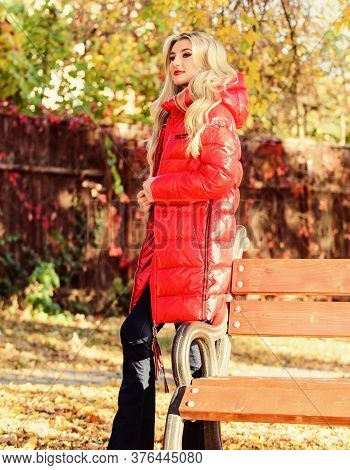 Jacket For Fall Season Concept. Girl Wear Red Bright Warm Jacket. Fall Fashion Concept. Lady Attract