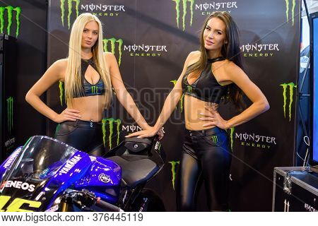 Belgrade / Serbia - March 30, 2019: Beautiful Monster Energy Girls Pose With The Motorcycle At Belgr