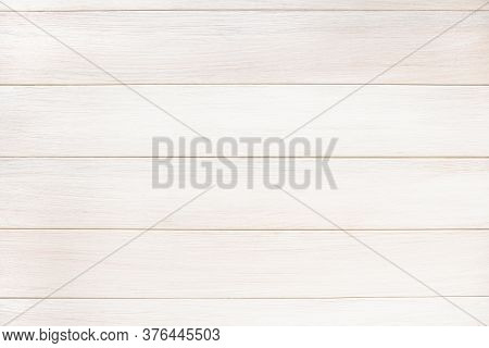 White Wood Paneling Texture Background. Horizontal Arrangement Of Boards.