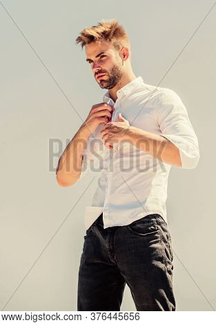Confident In His Style. Bearded Guy Business Style. Confident Businessman. Handsome Man Fashion Mode