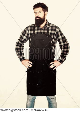 Bearded Hipster Wear Apron For Barbecue. Roasting And Grilling Food. Picnic And Barbecue. Man Cook B