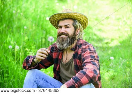 Happy And Carefree Life. Peace Of Mind. Rest And Relax. Make Wish. Peaceful Man In Straw Summer Hat.