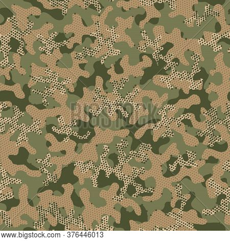 Camouflage Uniform Beige Repeated Fashion Vector Pattern. Green Seamless Creative Vector Camouflage.