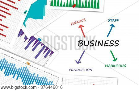 Business Vector Illustration Scheme With Words And Statistics Infocharts On White Background. Corpor
