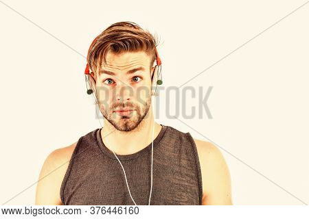 Listen Music For Motivation And Inspiration. Audio Quality. Audio Track. Man Handsome Unshaven Hipst