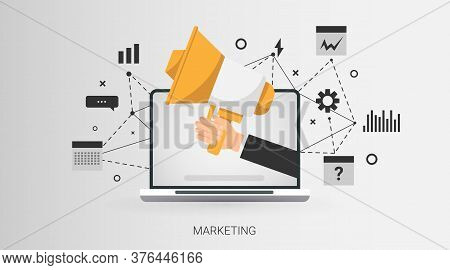 Web Marketing. Laptop Computer With Bloggers Hand Holding Megaphone And Internet Icons Over Gray Bac