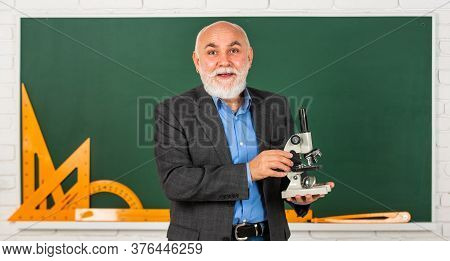 Formula. Chemistry In School. Science Experiments With Microscope In Lab. Biology School Laboratory