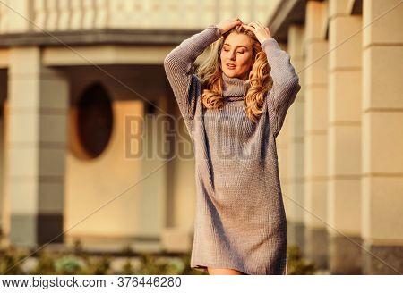 Warm Oversized Sweater. Free Style Comfortable. Woman Wear Sweater. Elongated Sweatshirt Tunic Dress