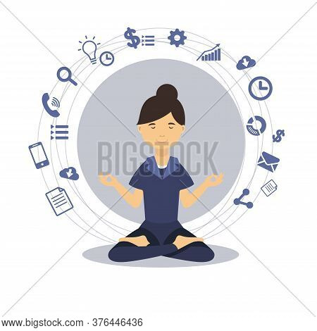Meditation. Mindful Girl Meditating Sitting In Lotus Position. Vector Illustration With Flat Icons