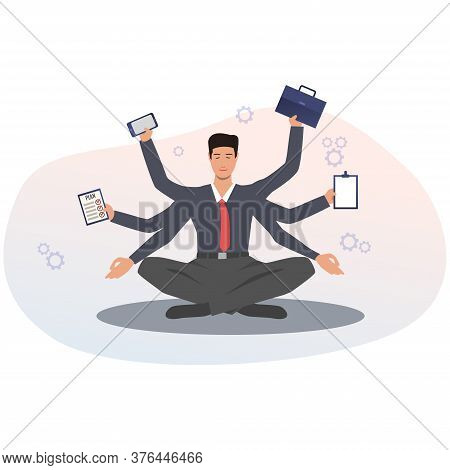 Mindfulness And Productivity. Businessman With Many Hands Multitasking And Meditating Sitting In Lot