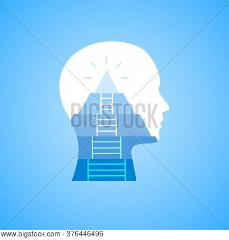 Career Mindset And Self-growth. Illustration Of Human Head With Ladder Leading To The Top Of Mountai