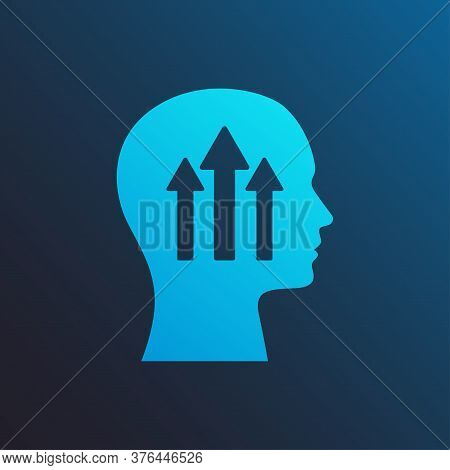 Self-growth Mindset Concept. Illustration Of Human Head With Arrows Pointing Upwards Over Blue Backg