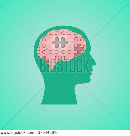 Improve Mindset. Human Head With Puzzled Brain Solving Business Tasks Over Green Background. Vector