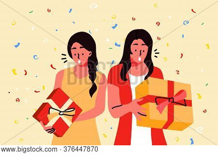 Holiday, Celebration, Party, Gift Concept. Young Hapy Excited Women Girls Friends Sisters Cartoon Ch
