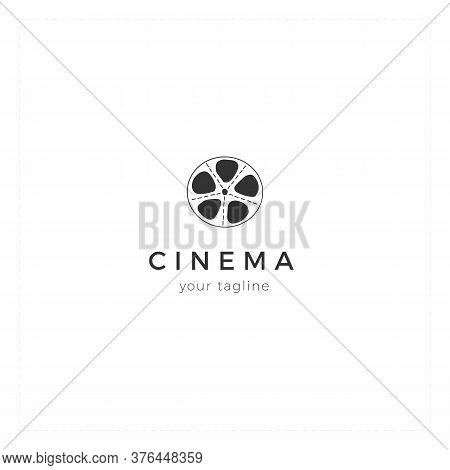 Vector Hand Drawn Logo Template With A Bobbin. Cinema Isolated Object, Cinematography Illustration.