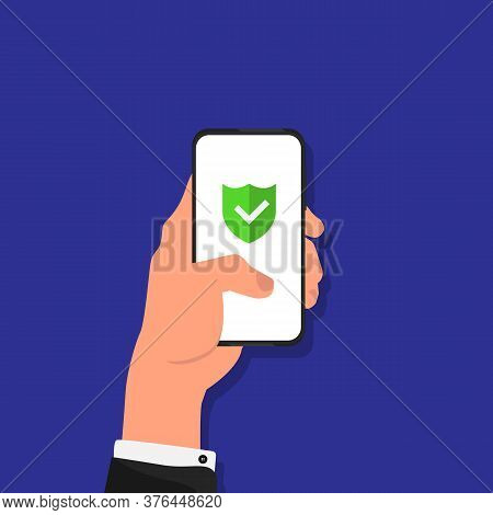 Antivirus App. Businessman Using Smartphone With Anti-virus Protection Shield Icon On Screen Over Bl