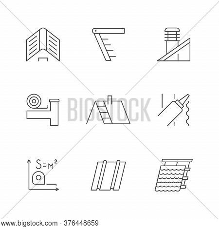 Set Line Outline Icons Of Roof Isolated On White. House Construction, Attic Ladder, Ventilation Pipe
